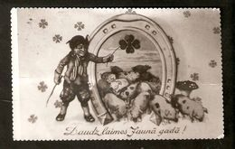 k2 Latvia Happy New Year Greetings Old Photo postcard - Boy herd Swineherd Clover Horse-Shoe Pig pigs | For sale on Delcampe