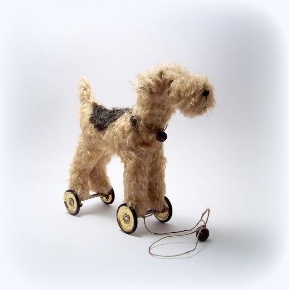 Little Lakeland Terrier on vintage Meccano by northfieldprimitives