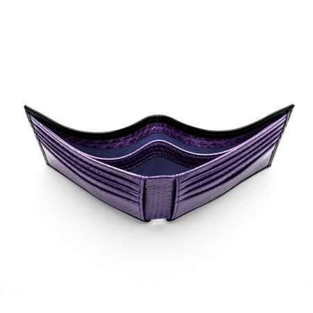 Exotic Billfold Wallet in Smooth Black with Violet Snake from Aspinal of London