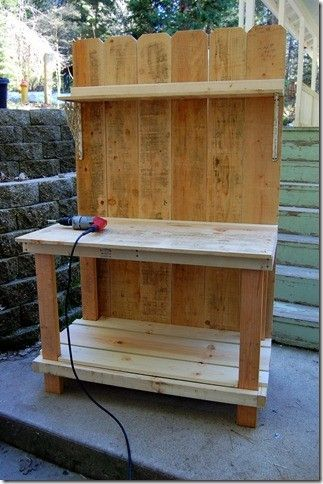 potting bench made from old doors | DIY work bench/potting bench made of fence boards by irishgrl