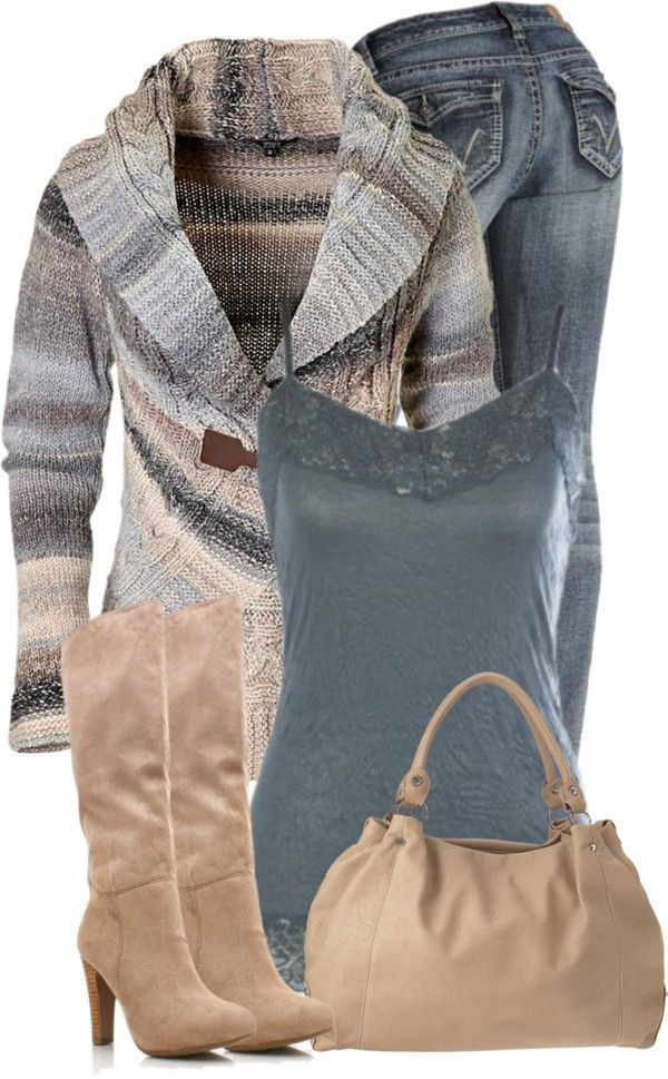 """Blue and Beige"" by denise-schmeltzer on Polyvore ...for a date night out? Super cute!"