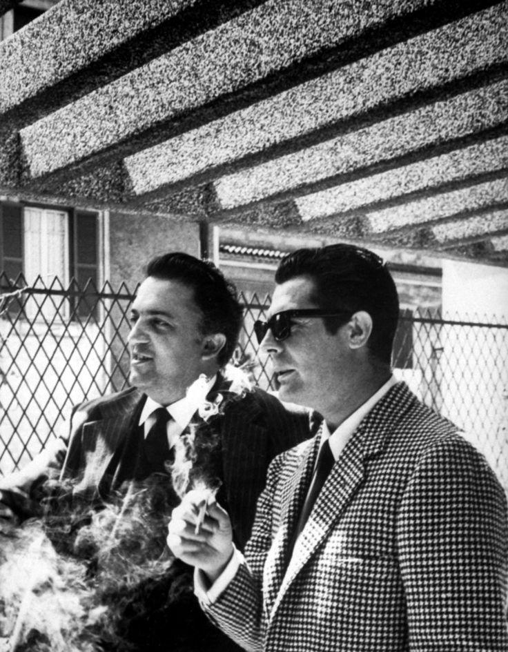 Federico Fellini and Marcello Mastroianni @manubirba #manubirba