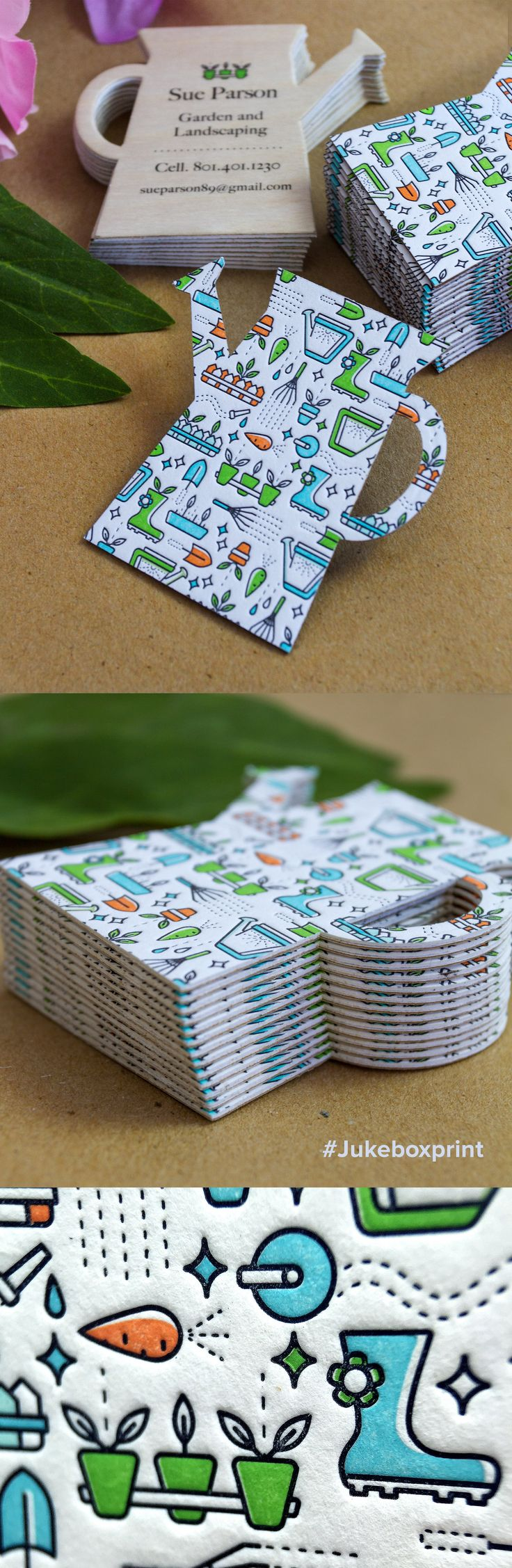Adorable custom shaped Letterpress Business Cards printed on Cotton and Natural Wood Backing. Produced by Jukebox Print.