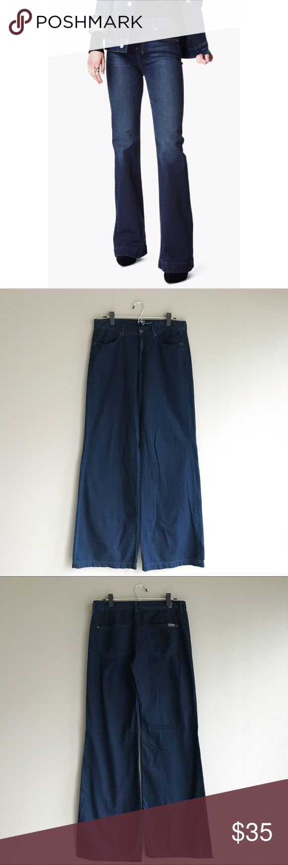 7 For All Mankind • wide leg trouser Beautifully flared jean-styled trousers from 7 For All Mankind. Fits tighter at hips then flares out for a groovy casual look. Fits like a 10, refer to measurements below. In excellent condition!  Waist: 32 in. Rise: 9½ in. Inseam: 35 in. Leg opening: 24 in.  Material: 100% cotton Origin: Made in Mexico Care: Machine wash cold with garment inside out. Tumble dry low. 7 For All Mankind Pants Boot Cut & Flare