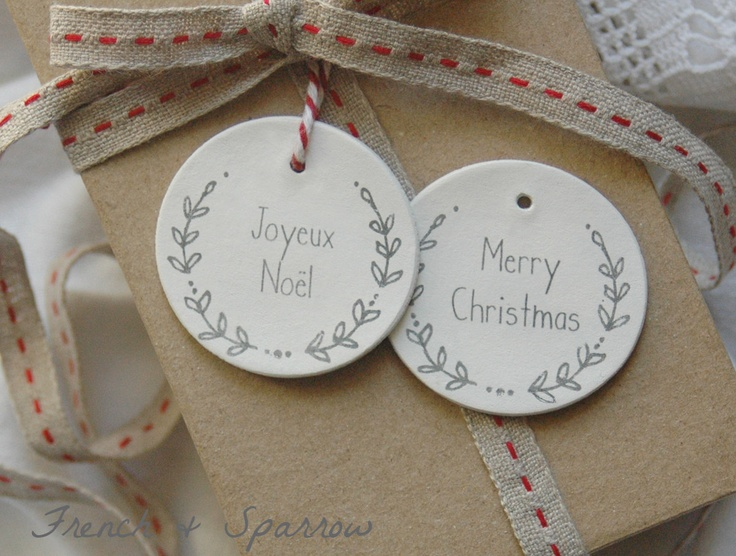 Christmas Wreath Clay Tags - Set of Two. $5.00, via Etsy.