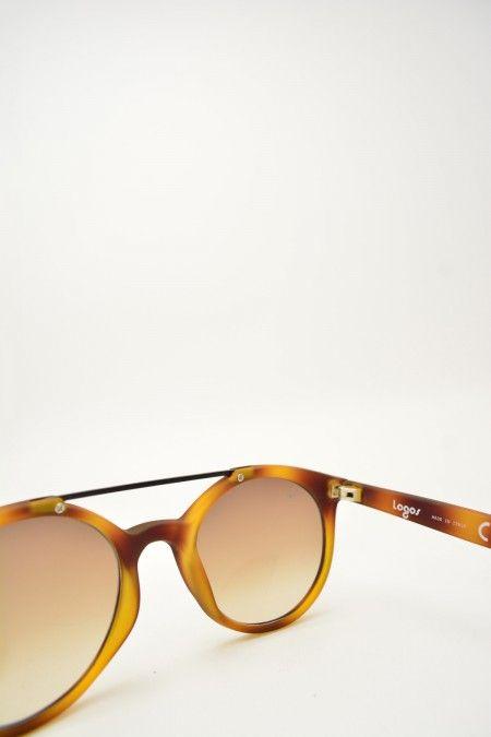 Logos LEONE havana matte sunglasses #sunglasses #browngradient #logos #blackmattebridge #roundshape #havanamatte #bassanodelgrappa #designglasses #design #cheap online store at www.bassanooptical.com