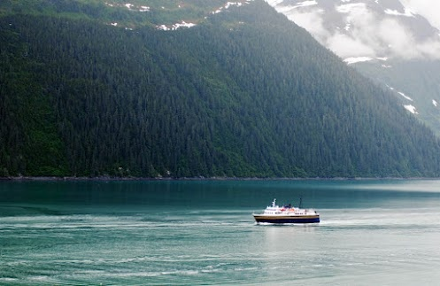 The Alaska Ferry M/V Aurora steams into the port of Valdez on the beautiful waters of Alaska's Prince William Sound.: M V Aurora, Alaska Ferry, Alaska S Prince, Prince William, Ferry M V, Aurora Steams