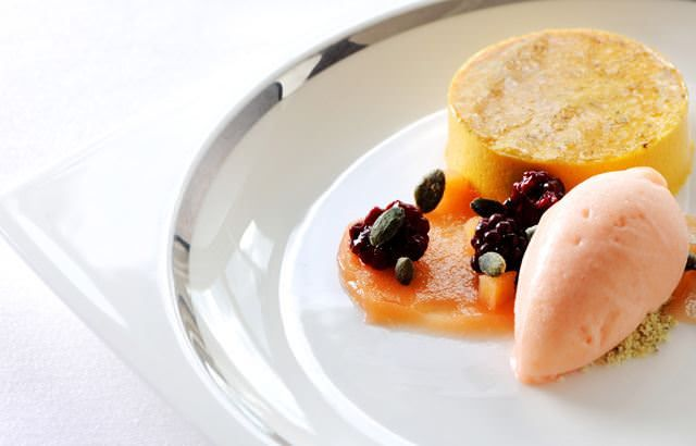 Bavarois of butternut squash with quince sorbet and poached blackberries from greatbritishchefs.com