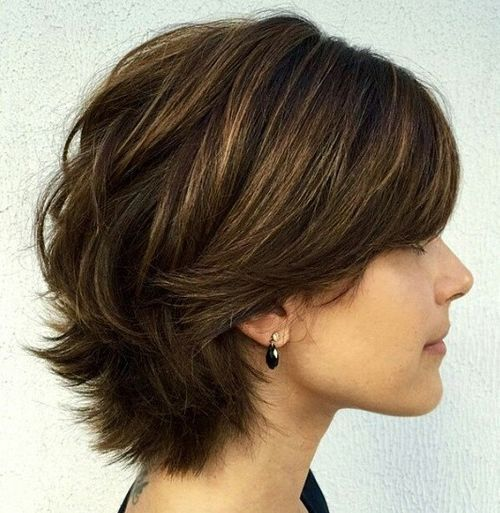 Layers are a great way to create volume in fine hair. This bob haircut shows how the shorter pieces work together with the longer pieces to retain the length while adding the bounce. To create this textured look with your own similar cut, use a quick spray of dry shampoo at the roots of clean hair.