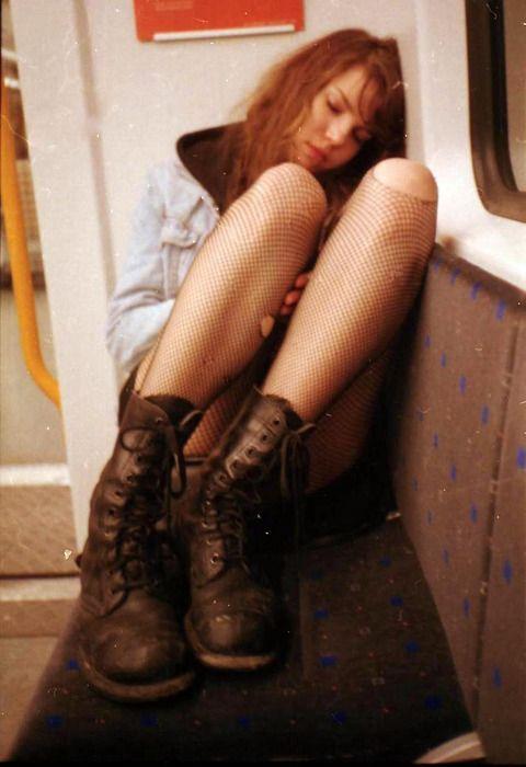 late night train rides; combat boots, fishnets, denim jacket