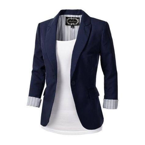 9XIS Womens Tailored Boyfriend Blazer Jacket: Amazon.co.uk: Clothing (€12) ❤ liked on Polyvore featuring outerwear, jackets, blazers, tops, casacos, boyfriend blazer, tailored jacket, blue blazer, tailored blazer and boyfriend jacket