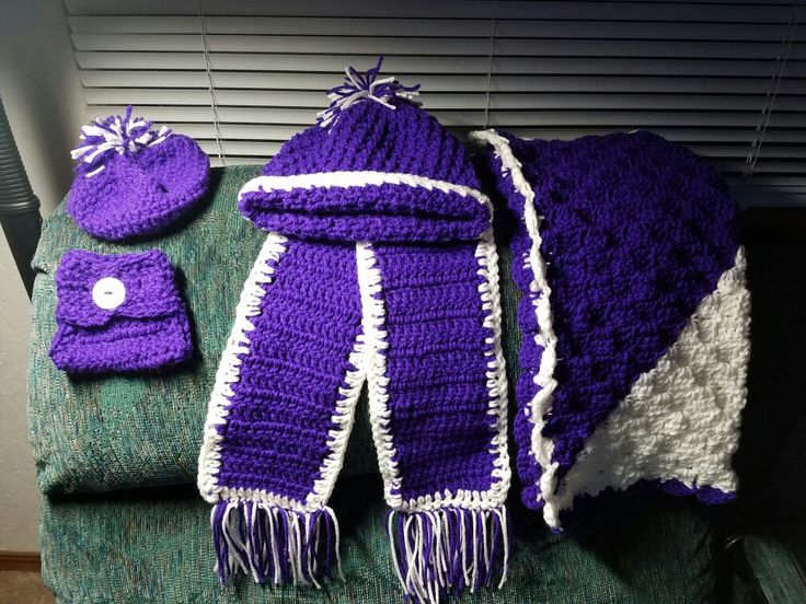 Purple set for Presley doll beanie diaper cover and blanket