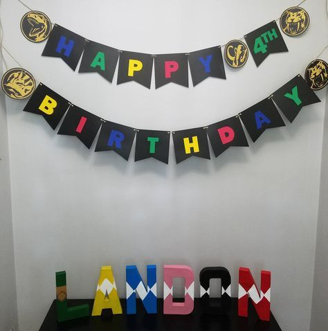 Power ranger, happy birthday banner, letters A-Z, party decorations, table decor, photo prop by BKraftyCreations on Etsy https://www.etsy.com/listing/519475910/power-ranger-happy-birthday-banner