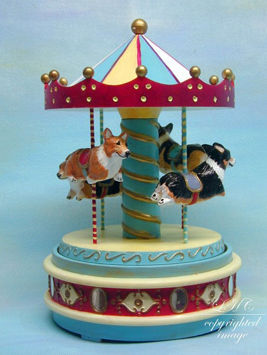 YOUR Pets on a Carousel Music Box Special Custom Made Sculpture Dogs cats horses pigs corgi  Very much what it's like to live with live Corgis.