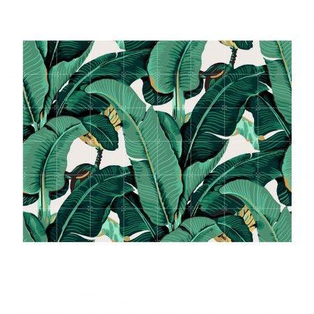 Muurdecoratie van bananenbladeren 160x120