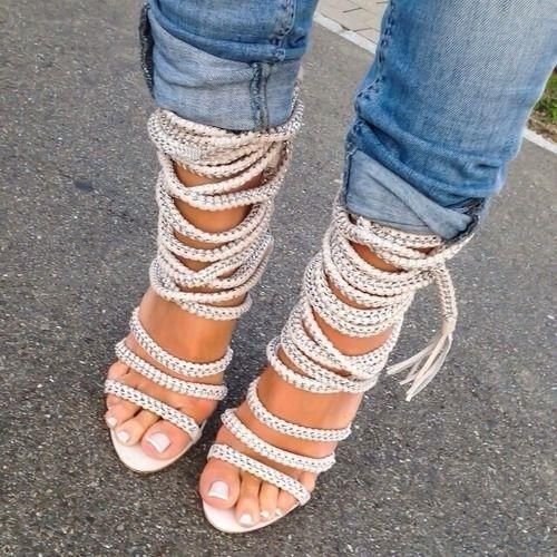 dc8f83334a451e Chic and versatile Rope Fringe Lace Up Open Toe High Heels. These  revolutionize the summer open toe heel with its unique rope lace up design.