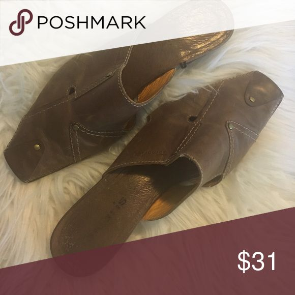 Tamaris Mules Gorgeous uniquely designed leather mules with comfortable heel! No major flaws just normal wear! No size noted! I'm a 7.5 and slightly to small I would say a size 7 tamaris Shoes Mules & Clogs