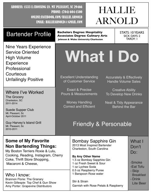 7 best Resume Samples images on Pinterest Resume ideas, High - bartending resume template