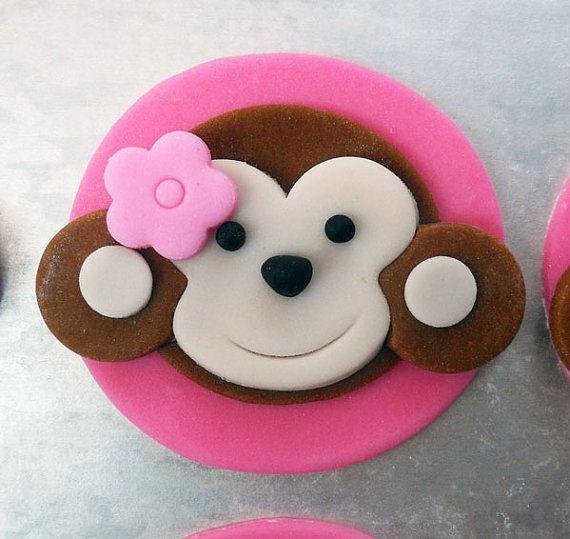 12 Edible MONKEY GIRL Cupcake Toppers by SWEETandEDIBLE on Etsy, $18.00