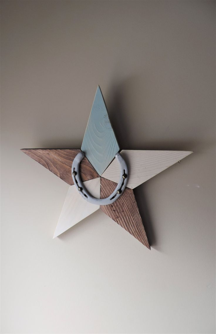 Lucky Star/Handmade wooden star/patchwork wood star/horseshoe/rustic wooden star/cottage chic decor/boho nursery star/rustic home decor/barn by BirdOnABarbedWire on Etsy