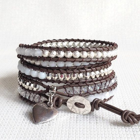 Items similar to White and Silver Leather Wrap Bracelet - WHITNEY- Brown Leather, Five Wraps on Etsy