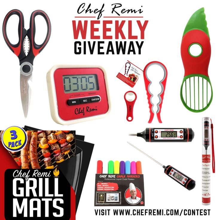 Enter Our Weekly Giveaway To Win Our Chef Remi Ultimate Kitchen Utensils Bundle. (7 Winners a Day!)  Enter Here --> https://chefremi.com/blogs/news/contest
