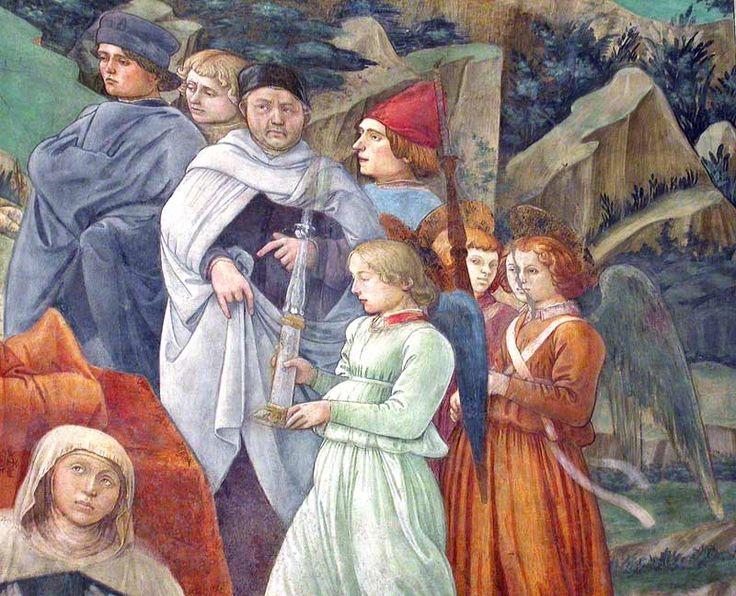 FILIPPO LIPPI (Fra) - Autoritratto di Filippo Lippi (con un mantello bianco) e Ritratto di Filippino Lippi (ll'angelo) da Incoronazione della Vergine - 1466-1469 -   Duomo, Spoleto