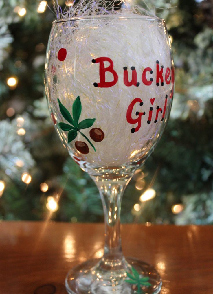 A personal favorite from my Etsy shop https://www.etsy.com/listing/172440893/ohio-state-buckeye-girl-wine-glass-ohio