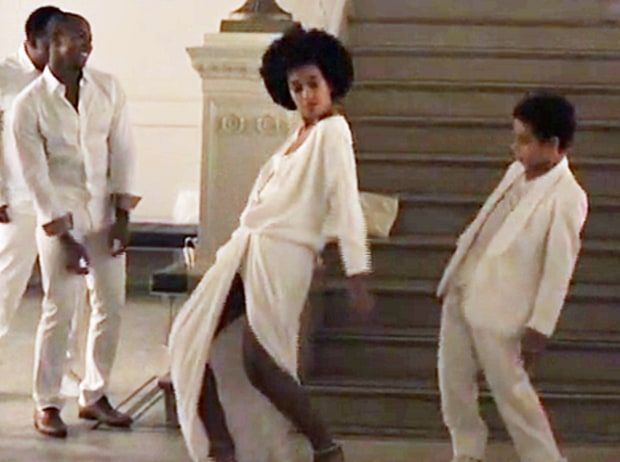 """Solange Knowles and her son Julez dance to """"No Flex Zone"""" at her wedding reception on Nov. 16."""