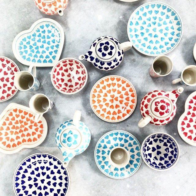 Bunzlauer Keramik Geschirr mit Liebe <3 Polish Pottery with love <3 HomeMode.de (tea pot,  bowl,  mug,  plate)