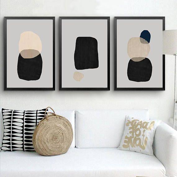 Abstract Minimalist Art Geometric Modern Art Downloadable Prints Gray Set Of 3 Wall Art Triptych Black Modern Geometric Art Grey Wall Art Minimalist Modern Art