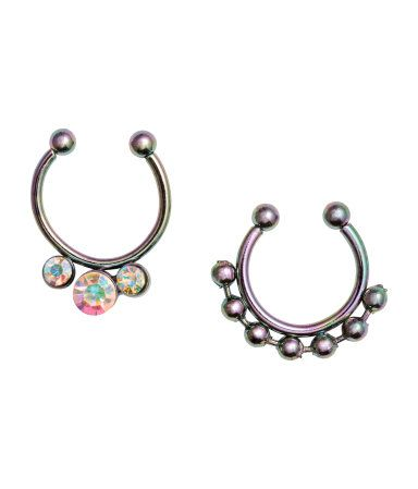 2-pack Nose Rings | Silver-colored metallic | Ladies | H&M US