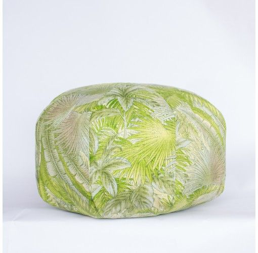 Ottoman with Tropical Green Foliage - Handmade in Noosa, these Plump Ottomans come in a variety of colours and patterns to compliment any decor.