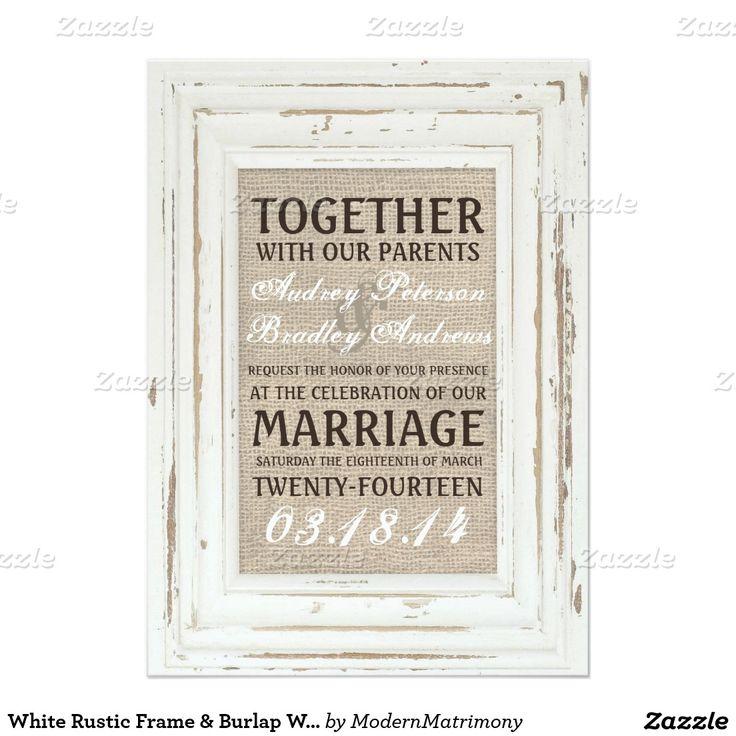 白い 素朴 フレーム 及び バーラップ 結婚 招待状 12.7 X 17.8 インビテーションカード