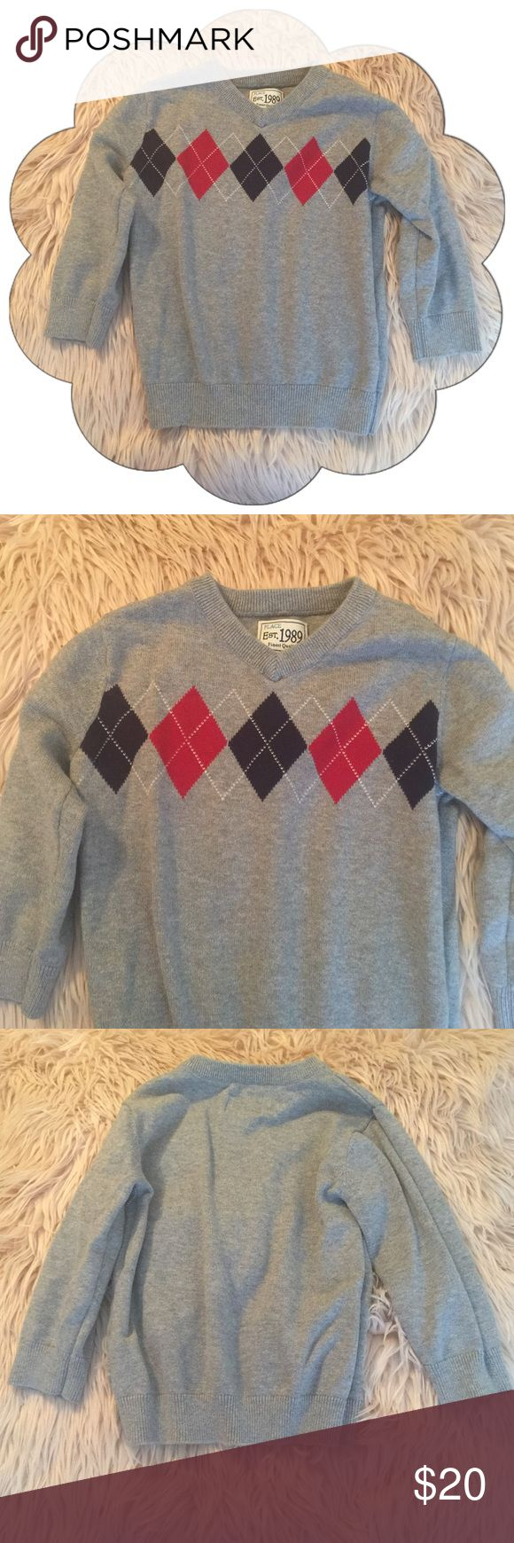 Children's Place Boys Argyle Sweater Excellent Condition : No tears or stains : Gray/Red/Navy Blue Children's Place Shirts & Tops Sweaters