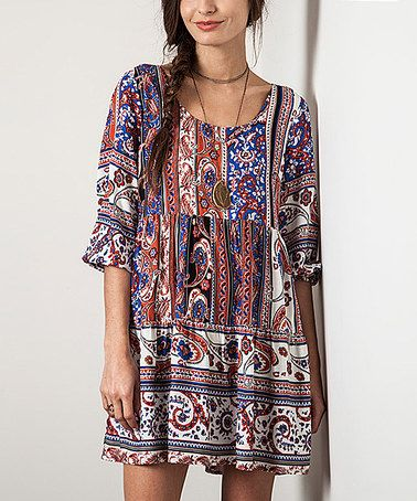 Love this Blue Paisley Tie-Back Peasant Tunic on #zulily! #zulilyfinds