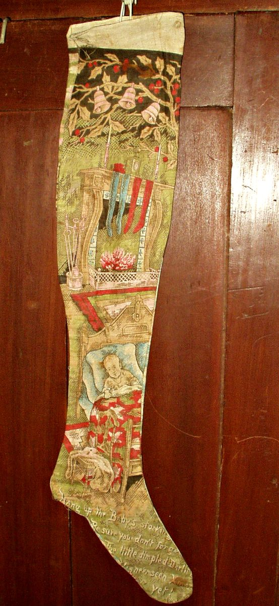 Antique Victorian Lithograph Merry Christmas Stocking Santa Sleigh Baby Scenes $235.00 - The Gatherings Antique Vintage