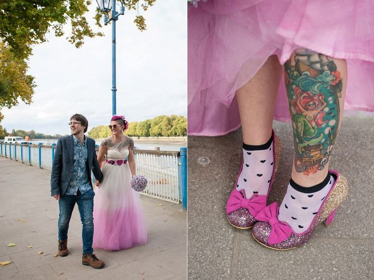 Wedding Irregular choice glitter shoes with socks | London wedding photographer | Tattooed bride