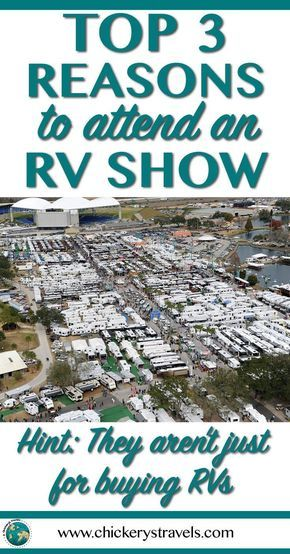 Learn the top 3 reasons to attend an RV show even if you aren't in the market for a new Motorhome, Fifth Wheel, Travel Trailer, or camper. RV Shows have so much more to offer than just RV and camper sales. There are many products, gadgets, and educational seminars to help you prepare for your ultimate road trip vacation or full-time RV lifestyle. #RVlife #RV #camping