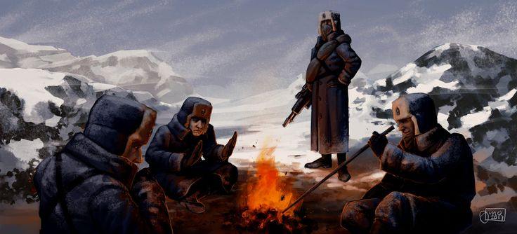 Valhallan Ice Warriors at the fire by Art-by-Juno