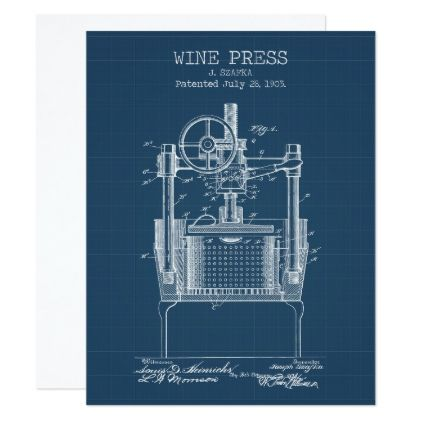 Wine Press Patent Card - invitations custom unique diy personalize occasions