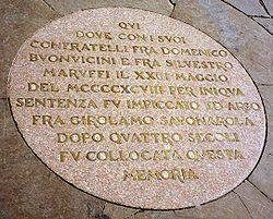 Girolamo Savonarola Commemorative Plaque