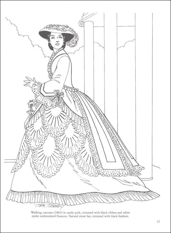 Fashion Coloring Book Pages | Victorian Fashions Coloring Book ...
