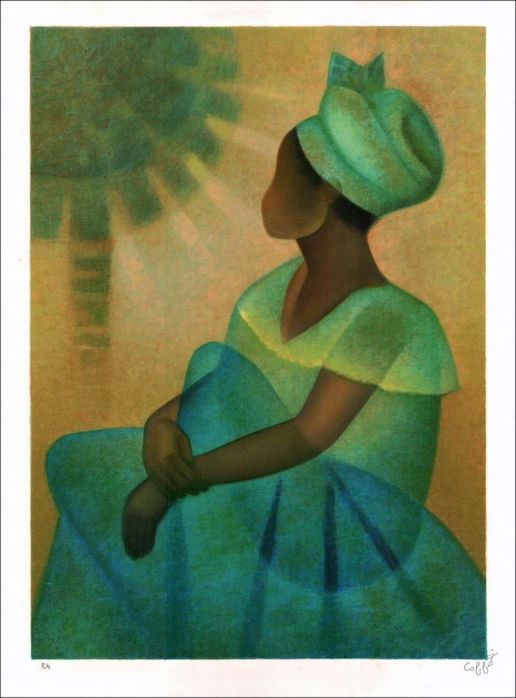 """TOFFOLI Louis - Lithographie Originale """"La princesse en bleue"""" 76x56cm - 1989"""