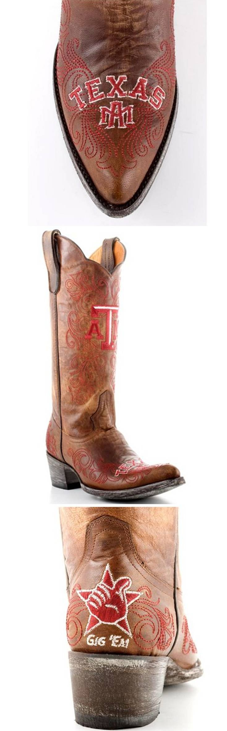 Texas A & M University Aggies - distressed pointed toe cowboy / cowgirl boots with logo