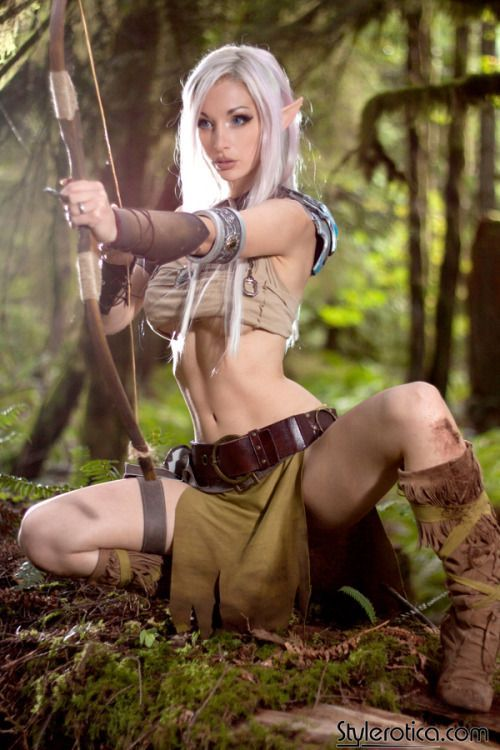 Kato of SteamGirl.com female elf half-elf ranger hunter huntress warrior fighter wood wild bow arrow woods forest leather armor clothes clothing fashion player character npc | Create your own roleplaying game material w/ RPG Bard: www.rpgbard.com | Writing inspiration for Dungeons and Dragons DND D&D Pathfinder PFRPG Warhammer 40k Star Wars Shadowrun Call of Cthulhu Lord of the Rings LoTR + d20 fantasy science fiction scifi horror design | Not Trusty Sword art: click artwork for source: