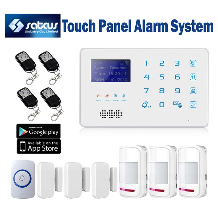 Quad Band Touch Keyboard Wireless GSM SMS Alarm System for Home Security with Panic button Motion Sensor Door Alarm