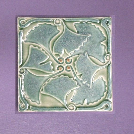 Ginkgo Leaves Arts and Crafts 6x6 ceramic tile by MUDpi on Etsy, $34.75