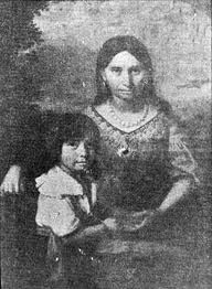 POCHOHANTUS and her son by John Rolfe, THOMAS | A Virginia Indian, notable for her association with the colonial settlement at Jamestown, Virginia. She is the daughter of Powhatan, the paramount chief of a network of tributary tribal nations in the Tidewater region of Virginia. In a well-known historical anecdote, she is said to have saved the life of an Indian captive, Englishman John Smith.