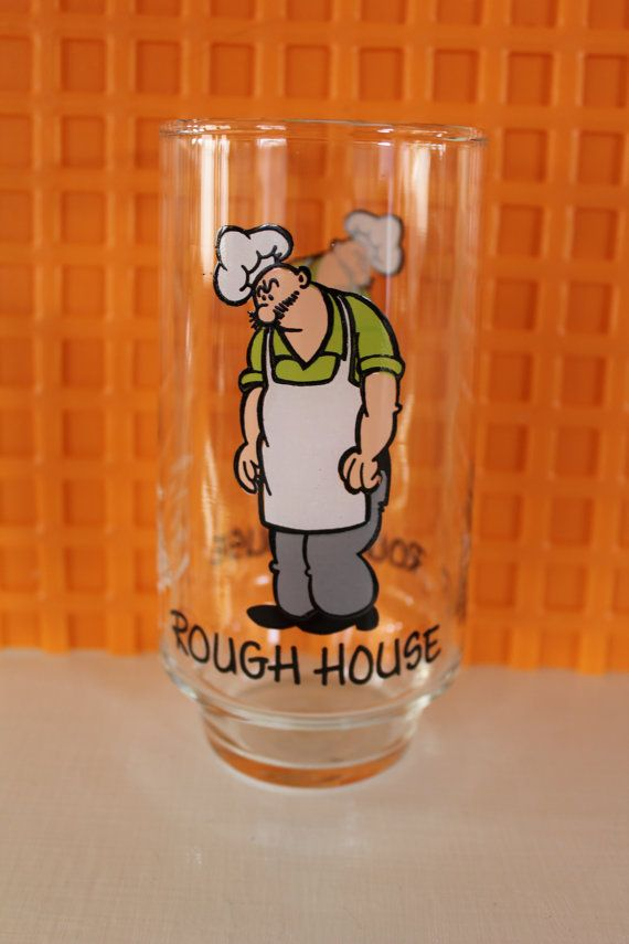 VINTAGE Rough House drinking glass by surlymermaid on Etsy (Home & Living, Kitchen & Dining, Drink & Barware, glass, cartoon, cartoon character, collector series, cartoon Popeye, Popeye cartoon, rough house, cook rough house, rough house cook, cartoon cook, king features, circa 1975, 1975 cartoon)